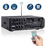 Sunbuck 600W Karaoke Wireless Bluetooth Power Amplifier System – 2 Channel Stereo Sound Audio Receiver -w/ R&L Channel EQ Adjustment, USB/SD, RCA, 4 MICS Input for Home Theater Speaker w/Echo. AV326BT