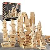 {150 Piece Set} Wooden Castle Building Blocks Set FAO SCHWARZ Toy Solid Pine Wood Block Playset Kit...