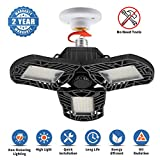 LED Garage Lights, 6000Lumens Deformable Garage Light, 60W Ultra-Bright Trilight Lamp Set with 3 Adjustable Aluminum Panels, CRI 80,6000K Nature Light for Shop, Garage, Warehouse