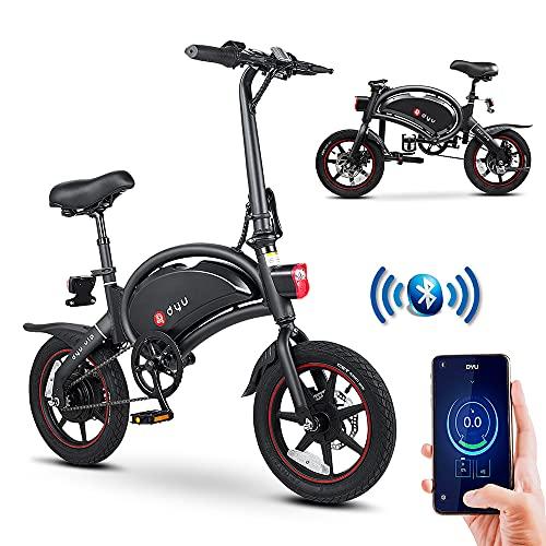 Vélo Électrique Pliant DYU, 14 Pouces Vélo Électrique Portable avec Télécommande APP, 250W Intelligent Vélo Électrique Assistance Pédale avec Écran LCD, Unisexe Adulte Jeunesse (Nero)