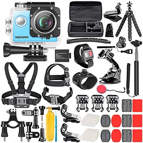 Neewer Kit di G1 Action Cam a Definizione Ultra Alta 4K (Blu): Fotocamera Impermeabile Fino a 30m Sotto Acqua, 16MP 4K/30FPS Grandangolo a 170° WiFi Sensore High-Tech Telecomando Batteria & Accessori