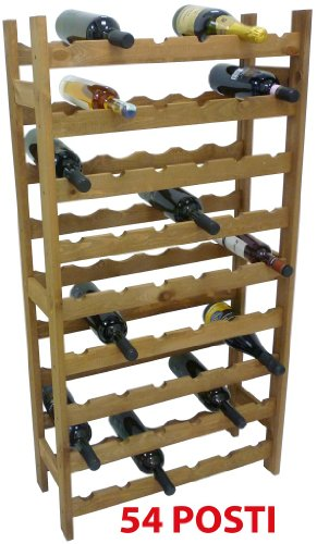 Mobile porta bottiglie cantinetta vino in legno noce marrone 54 posti per enoteca bar casa cucina...