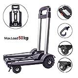 Diable Chariot Pliable à main Capacité 50 kg, Chariot utilitaire...