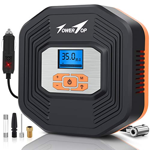 Air Compressor, 12V DC Portable Auto Tire Inflator Air Compressor, Car Tire Pump with Digital Display Pressure Gauge for Car, Bicycle, Sport Balls and Other Inflatables (Type 1)
