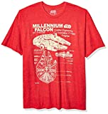 Star Wars Men's Millennium Falcon Detailed Drawing T-Shirt, Red Heather, 3XL