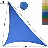 LyShade 16'5' x 16'5' x 22'11' Right Triangle Sun Shade Sail Canopy (Blue) - UV Block for Patio and Outdoor