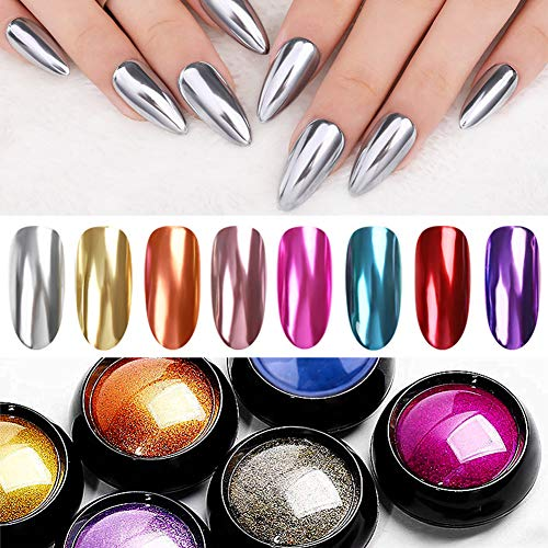 UR SUGAR Mirror Nail Powder Champagne Silver Rose Gold Red 8 Colors Manicure Nail Art Chrome Pigment Dust pearl Glitter Powder With 20pcs Eyeshadow Sponge Stick