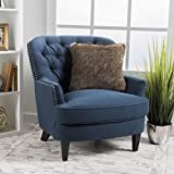 Grands Tufted Fabric Club Chair, Contemporary Lounge Accent Chair, Dark Blue