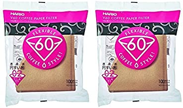 Hario V60 Paper Coffee Filters, Size 02, Natural, Tabbed 2 Pack