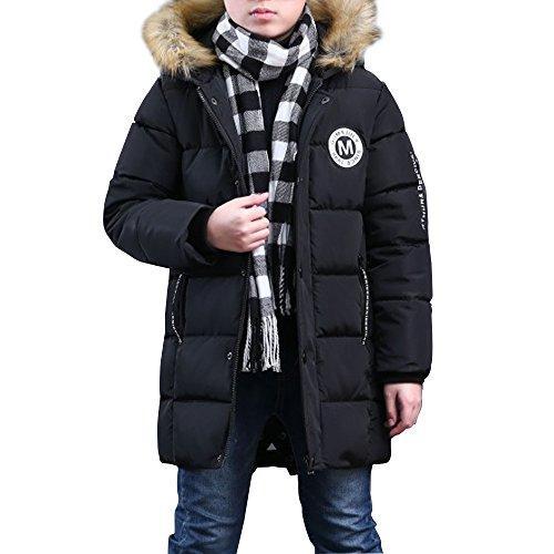Manteau d'hiver pour garçon Rembourré avec Capuche Fourrure pas cher Noir-160