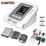 CONTEC 08A FDA Approved Fully Automatic Digital Upper Arm Blood Pressure Monitor Adult, Child, Pediatric Modes & Cuffs(3 Cuffs)