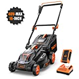 TACKLIFE Cordless Lawn Mower, 16-Inch 40V Brushless Lawn Mower, 4.0AH Battery, 6 Mowing Heights, 3 Operation Heights, 98% Clean Cutting Rate, 10.5Gal Grass Box, Mulching Accessory Not Included