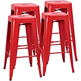 JUMMICO Metal Bar Stool Backless 30 Inches Stackable Barstools Indoor Outdoor Modern Industrial Bar Stools Set of 4 (Red)