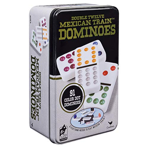Double 12 Color Dot Dominoes in Collectors Tin (styles will vary)