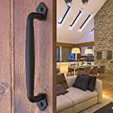 Barn Door Handle Round Black 10 inch Solid Steel Gate Handle Pull for Sliding Barn Doors Gates Garages Sheds