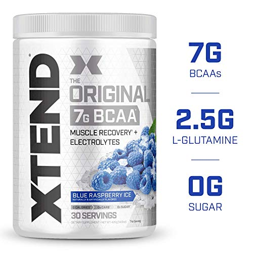 XTEND Original BCAA Powder Blue Raspberry Ice   Sugar Free Post Workout Muscle Recovery Drink with Amino Acids   7g BCAAs for Men & Women  30 Servings