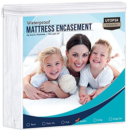 Utopia Bedding Zippered Mattress Encasement Queen, 100% Waterproof Mattress Protector, Absorbent, Six-Sided Mattress Cover