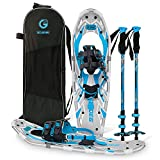 G2 30 Inches Blue Light Weight Snowshoes for Women Men Youth, Set with Tote Bag, Special EVA Padded Ratchet Binding, Heel Lift, Toe Box