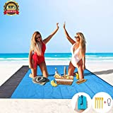 HEHUI Sand Free Beach Mat Oversized (82' X79') Beach Blanket Waterproof Sand Proof with 4 Stakes, Lightweight Quick Drying Outdoor Picnic/Hiking/Camping Blanket