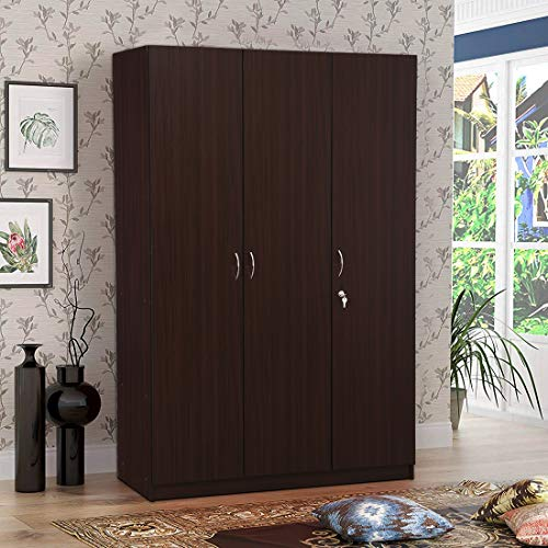 HomeTown Willy Engineered Wood Three Door Wardrobe in Walnut Colour