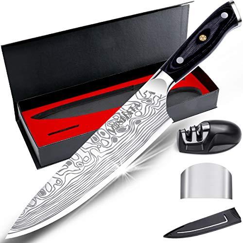 MOSFiATA 8 pollici coltello da cucina professionale tagliente con protezione del dito e affilatore, acciaio inossidabile tedesco ad alto contenuto di carbonio con manico e scatola regalo di Micarta