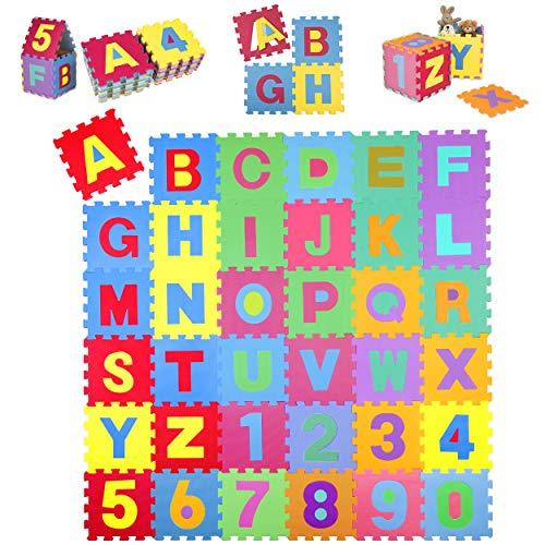 KIDUKU Tappeto Puzzle 36 Pezzi con Numeri e Lettere Colorati in Morbida Gomma Eva Resistente,...