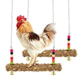 MEWTOGO 2 Pack Chicken Swing- Natural Wooden Chicken Perch Toy Handmade Chicken Stand Toy Chicken Coop Accessories for Chicken Hens Medium&Large Bird Parrot Training