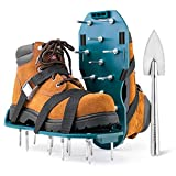 Jumbo Varieties Lawn Aerator Shoes - Comfortable Grass Aerating Spike Sandals for Lawns with Stainless Steel Shovel - Soil Aeration Shoe Pair with Spikes - Single Strap Design & Nonslip Metal Buckle