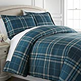 Southshore Fine Living, Inc. Vilano Plaid Collection - Premium Quality, Down-Alternative, Hypo-Allergenic, Over-Sized 3-Piece Comforter Set, Full/Queen, Blue