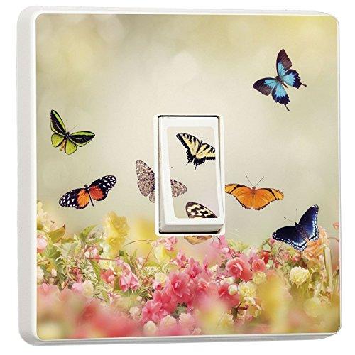 stika.co Schönen Blumen und Schmetterlinge Design Lichtschalter Bezug, Single Haut Aufkleber, Plastik, 82 x 82mm