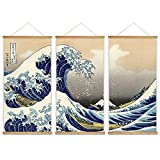 wall26 - 3 Panel Hanging Poster with Wood Frames - Japanese Traditional Art The Great Wave Off Kanagawa by Hokusai - Ready to Hang Decorative Wall Art - 18'x36' x 3 Panels