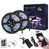 RC WiFi LED Strip Lights 32.8ft RGB LED Strip Light 5050 LED Light Strip Color Changing LED Strip Lights with Remote APP Control for Home Decoration Works with Android,iOS, Alexa, Siri, IFTTT