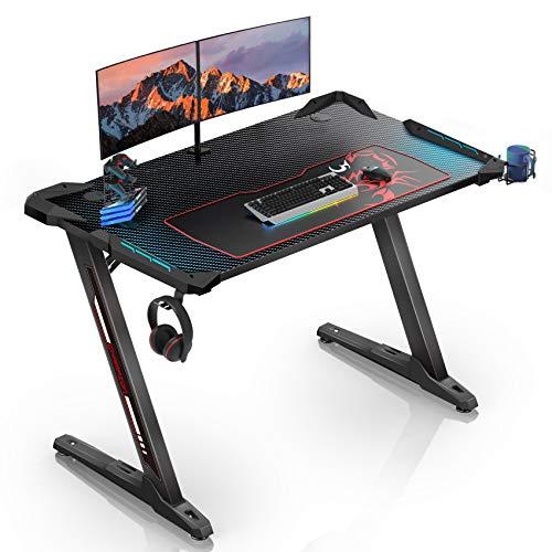EUREKA ERGONOMIC Gaming Tisch Z1S Gaming Schreibtisch Gaming Computertisch PC Schreibtisch Gamer Mit RGB LED Beleuchtung Getränkehalter und Kopfhörerhalter Schwarz