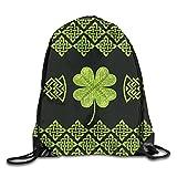 Irish Four Leaf Lucky Clover Vintage Celtic knot Drawstring Backpack String Bag Sports Sackpack Gym Sack for Men Women