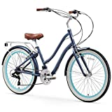 sixthreezero EVRYjourney Women's 21-Speed Step-Through Hybrid Cruiser Bicycle, 26' Wheels and 17.5' Frame, Navy with Brown Seat and Grips