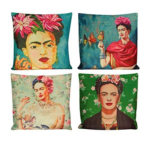 4 Fundas de Cojín de Alta Definición Estilo Vintage con Diseño de Pintora mexicanapara Decoración del hogar ...