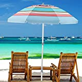 wikiwiki 7.5ft Beach Umbrella Portable UV 50+ Protection Aluminum Pole with Anchor,Siver-Coating,Push Button Tilt & Carrying Bag for Sand Heavy Duty Wind Outdoor Garden Beach(Stripe Sky Blue and Red)
