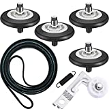 6 Packs Dryer Replacement Compatible with LG Including 4400EL2001A Clothes Dryer Drum Belt 4561EL3002A Dryer Motor Idler Pulley (Include 1 Spring) and 4581EL2002C Dryer Drum Roller