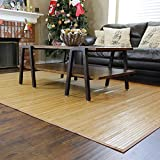 Home Aesthetics Natural Bamboo 5' X 8' (60'x96') Floor Mat, Bamboo Area Rug, Elegant Brown Color Finish Indoor Carpet, Non Skid Backing, Floor Runner Mat for Living Room, Hallway, Kitchen, Office