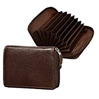This card Holder is made of Purely Genuine Leather. Coffee Brown color gives an awesome Texture to it. It has 2 Cash Compartments and 7 Card Slots . *This Wallet Is Only for Bank Credit/Debit Cards. Visiting/Business Cards Will Not Fit Inside It. Pro...