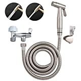 Hibbent Dual Function 2 Sprayer(Stream/Jet) Handheld Bidet Toilet Cloth Diaper Sprayer Kit - Premium Hand Shower for Personal Hygiene Cleaning with No Leaking Attachment - Stainless Steel