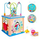 rolimate Activity Cube Wooden Activity Center Bead Maze, Montessori Standing Toy Preschool Activity Table Learning Educational Wire Toy Shape Sorter, Birthday Gifts for 3 4 5+ Years Boy Girl Toddler