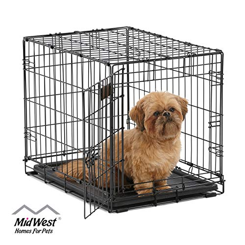 Dog Crate 1522| MidWest ICrate 24 Inch Folding Metal Dog Crate w/ Divider Panel | Small Dog Breed, Black