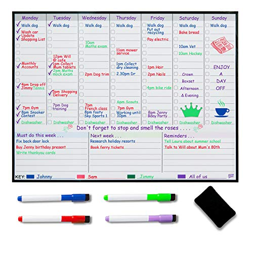 Pizarra Magnética con Planificador Semanal para Refrigerador – Planificador de Comidas Semanales – Planificador Familiar – Obtenga Orden para Reducir el Estrés en su vida