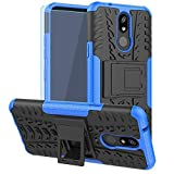 LG K40 Case,LG Xpression Plus 2,LG Solo,LG X4 2019,K12 Plus Case with HD Screen Protector, SKTGSLAMY [Shockproof]Tough Rugged Dual Layer Protective Case Hybrid Kickstand Cover for LG Harmony 3 (Blue)