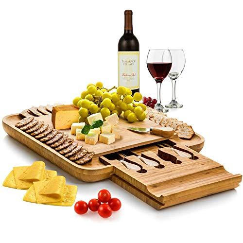 Bambusi Cheese Board and Knife Set - Premium Bamboo Wood Charcuterie Platter Serving Tray with Cutlery - Perfect for Housewarming, Wedding & Birthday Gift