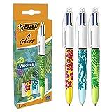BIC4Colores Velours Bolígrafos de Punta Media (1,0mm) - Varios Diseños, Pack de3