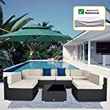 7 Pieces Outdoor Sectional Patio Furniture Set, PE Rattan Wicker Sofa Chair Set with Nylon Waterproof Cover, Washable Seat Cushions, 2 Pack Throw Pillows with YKK Zippers (Black Wicker+Beige Cushion)
