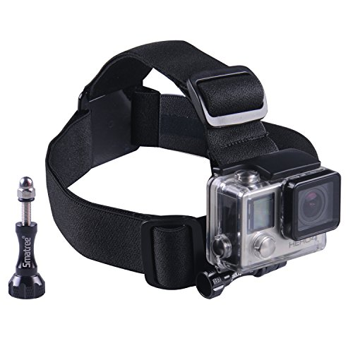 Smatree Head Strap/Belt Harness Mount + Aluminum Thumbscrew Mount for Gopro HD Hero4, Hero3+ Hero3 Hero2 Cameras, Adjustable(Black)