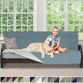 Sofa Shield Original Patent Pending Reversible Futon Slipcover, 2 Inch Strap Hook, Seat Width Up to 70 Inch Washable Furniture Protector, Futons Slip Cover Throw for Pets, Kids, Futon, Seafoam Cream